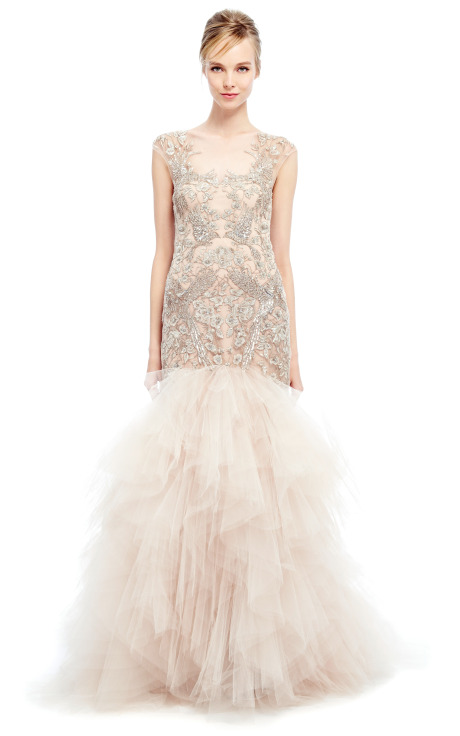 Metallic Threadwork Tulle Fishtail Gown by Marchesa - Moda Operandi