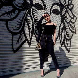 kris chérie blogger jacket pants top shoes shoulder bag off the shoulder top metallic shoes high heel pumps