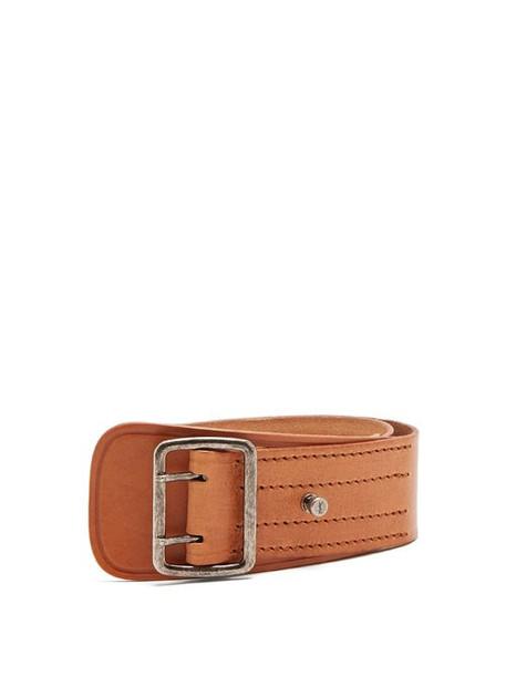 Saint Laurent - Stitch Detail Leather Belt - Womens - Tan