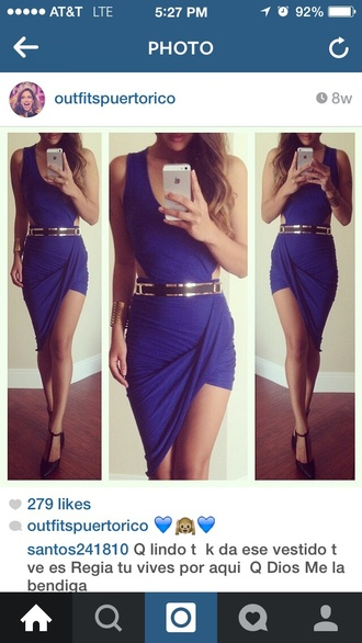 dress asymmetrical blue dress open sides