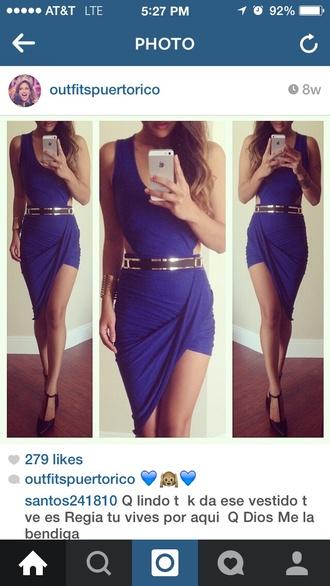 dress asymmetrical blue dress open sides