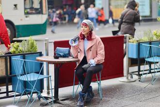 preppy fashionist blogger coat sweater pants shoes bag jewels gloves