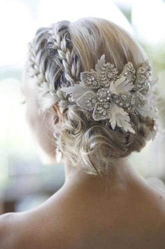 jewels white flowers prom hair hair accessory rhinestones bridal wedding bride updo braid bun accessory
