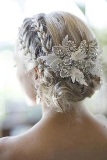 jewels white flowers prom hair hair accessory hair accessory rhinestones bridal wedding bride updo braid bun Accessory