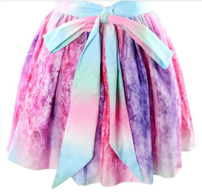 """candy wonderland"" tie dye multicolor bow skirt – glamzelle"