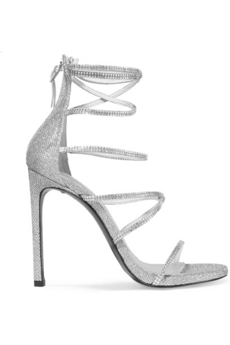 mesh embellished sandals silver shoes
