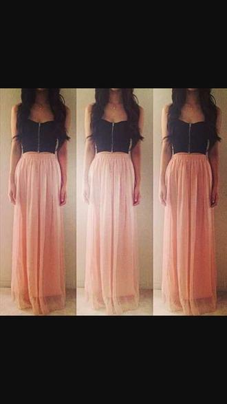 dress pink dress cute dress black crop top long skirt