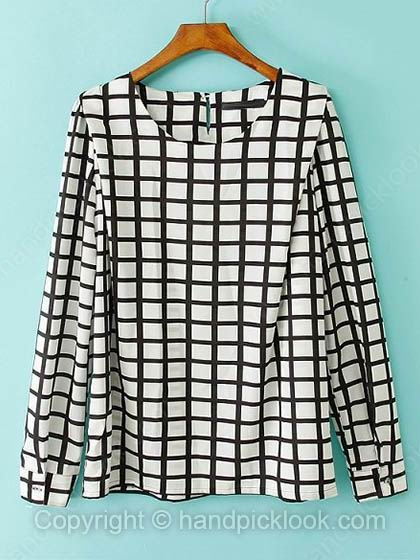 Black Round Neck Long Sleeve Plaid Chiffon Blouse - HandpickLook.com
