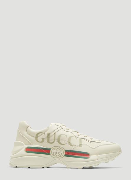 Gucci Rhyton Logo Print Sneakers in White size EU - 38