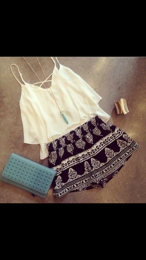 shorts white blouse loose skirt print black and white skirt jewels indie top crop tops tank top tank top