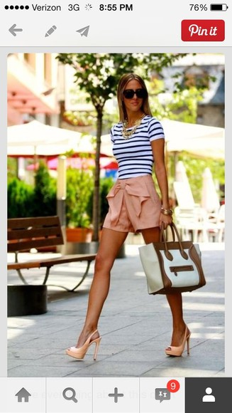 shorts shirt pink shorts bag t-shirt