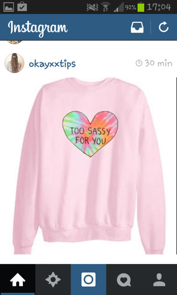 heart sweater too sassy for you bunt color pink