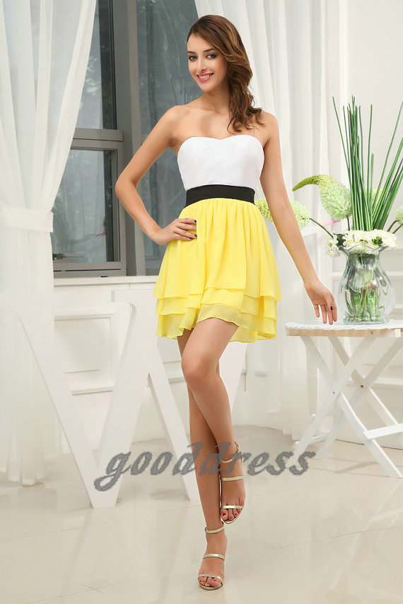 2013 noble sweetheart white and yellow with black by gooddress