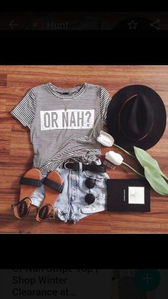 blouse or nah glasses t-shirt shirt shoes belt shorts hat