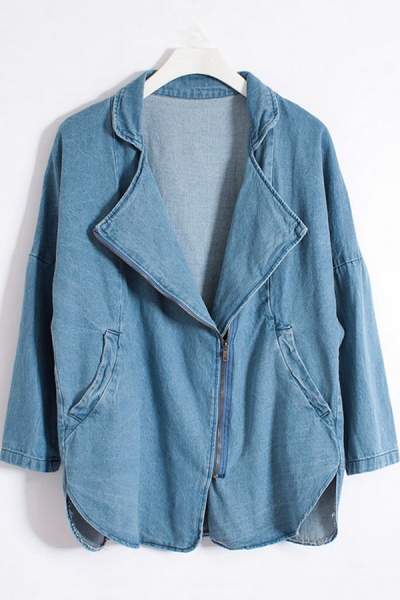 Loose Notched Collar Denim Jacket - OASAP.com
