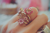 jewels,gold,ring,flowers,gems,pink