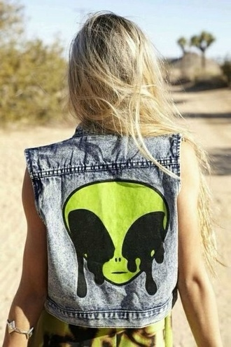 jacket grunge denim acid wash crop tops hipster vintage romper alien vest allien sleeveless jean jacket