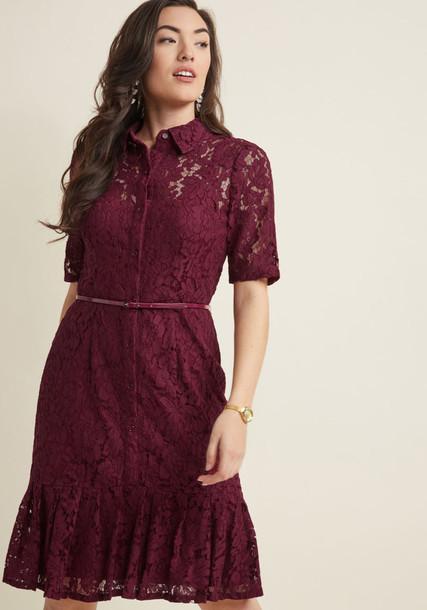 AP1D101852 dress shirt dress cherry sheer classy lady lace black red