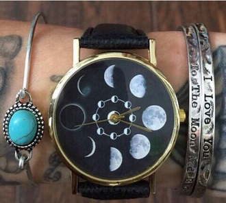 home accessory watch grunge style watches love girly girl girly wishlist tumblr girl instagram exactly like those or close black watch cute watch moon