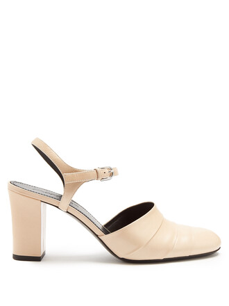 heel pumps leather nude shoes