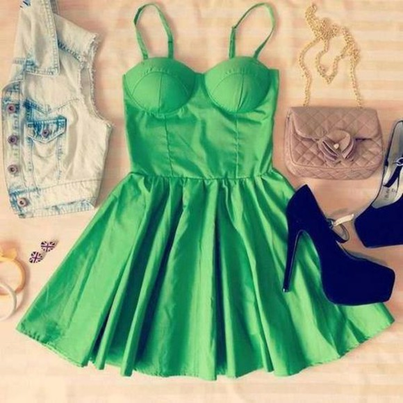 earrings shoes bag green british flag dress green dress cute dress cool dress good dress beautiful dress