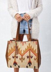 bag,tribal style bag,tribal bag,tote bag,pattern tote bag,navajo inspired tote bag,tribal tote bag,fall bag,boho bag,bohemian bag,boho chic,leather tote bag,fringed bag,tassel bag,bohemian