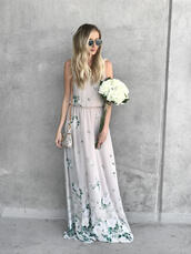 dress,bag,tumblr,long bridesmaid dress,maxi dress,floral maxi dress,long dress,floral,floral dress,sleeveless,sleeveless dress,flowers,mini bag,sunglasses