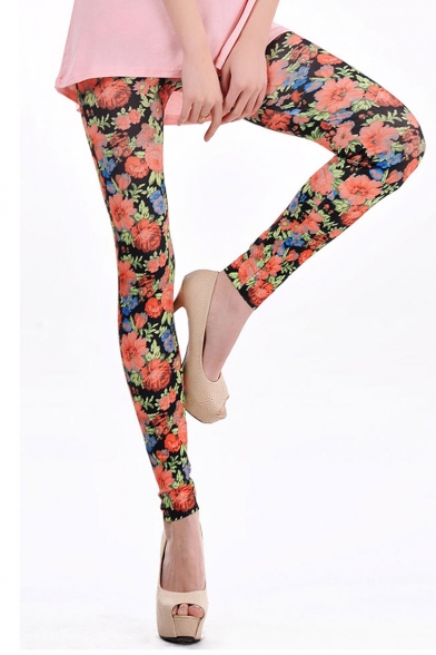 Sexy floral print bodycon leggings in ankle length