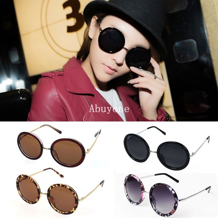 Unisex Women Fashion Retro Vintage Style Sunglasses Glasses Round Metal Frame
