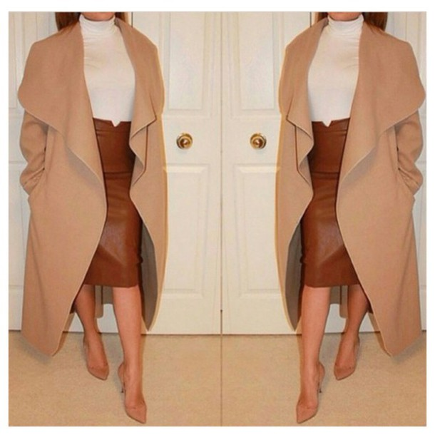 coat camel & grey