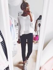 top,blouse,long,long sleeves,ruffle,girly,jeans,black jeans,selfie,girl,blonde hair,ruffled top,shirt,fashion,sweater,peplum,white blouse,clothes,white peplum top,white top,white,layers,cute,preppy,cute shirt