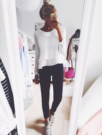 black jeans jeans blouse top girl girly long ruffle selfie blonde hair long sleeves ruffle top