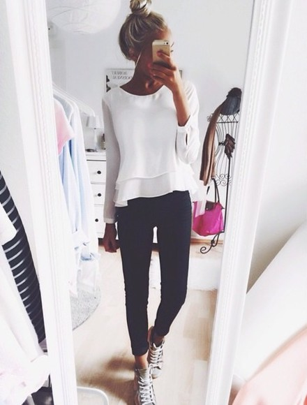 jeans black jeans top blouse long ruffle girly selfie girl blonde long sleeves ruffle top