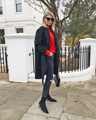 coat tumblr black coat denim jeans black jeans ripped jeans boots black boots sweater red sweater sunglasses