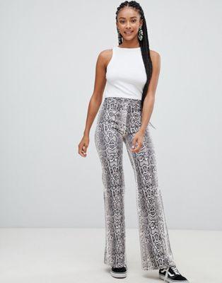 Bershka snake print wide leg trouser at asos.com