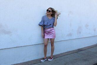 skirt mini skirt metallic skirt gingham ruffle sleeves blogger blogger style slippers