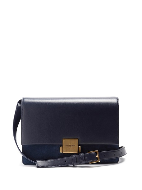 Saint Laurent bag suede bag leather suede navy