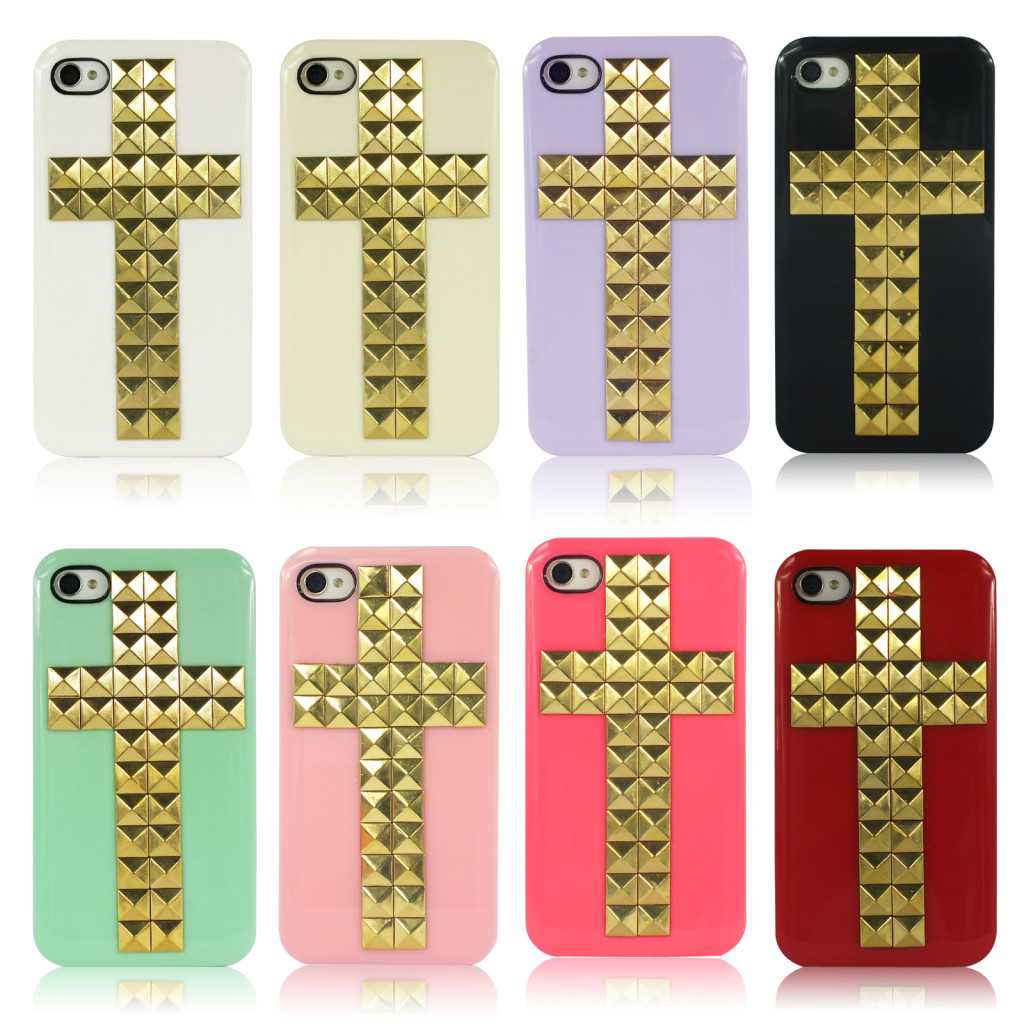 HOT Golden Rivets Stud Cross Handmade Hard Back Cover Case For iPhone 4 4S - UK | eBay