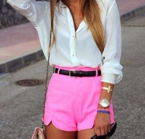 shorts pink shorts high waisted short