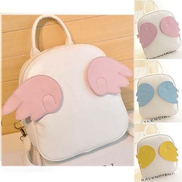 Detachable 3 pairs of wing luck women lady designer backpack satchel handbag bag
