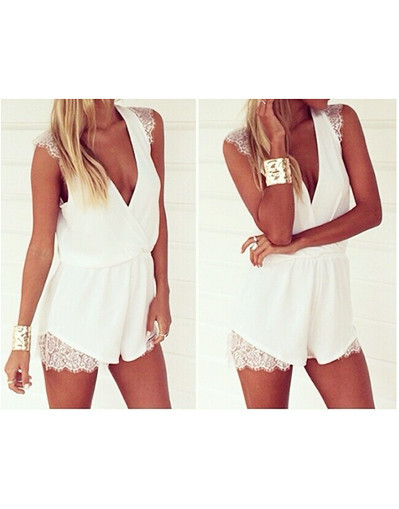 White lace playsuit romper jumpsuit blogger summer spring beach day night