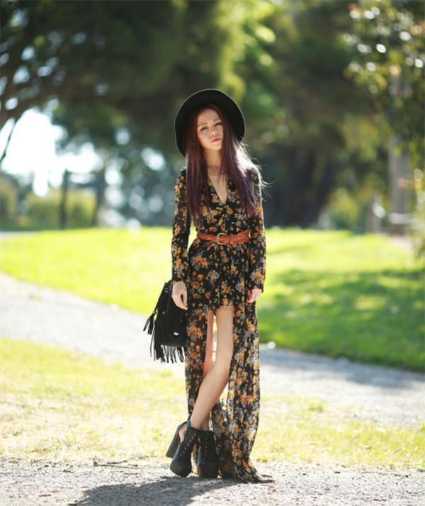 chloe ting blogger felt hat boho belt fringes bag