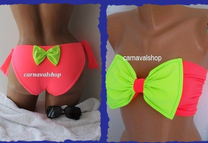 PADDED Bow bandeau and full coverage bow bottoms-Swimsuit-Bow bottoms -women's swimwear-neon pink and neon green