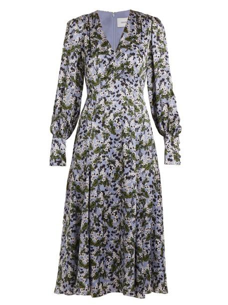 dress satin dress silk satin print blue