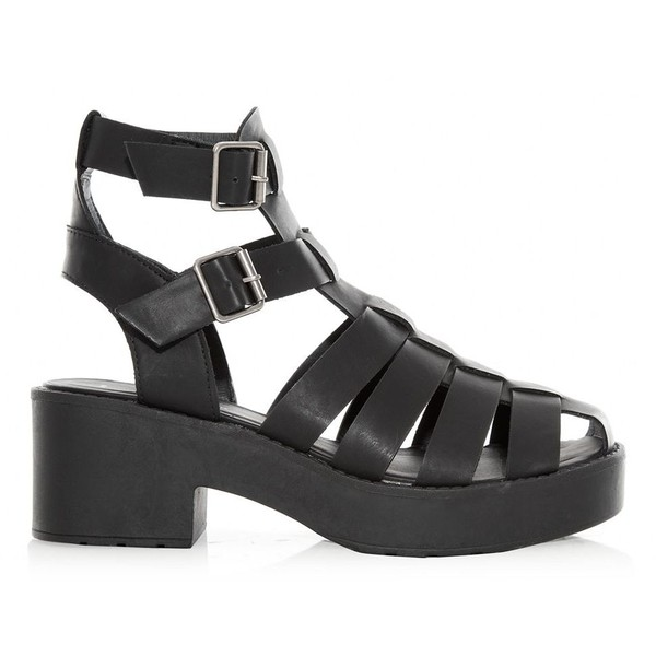 Black Chunky Caged Hi-Top Gladiator Sandals