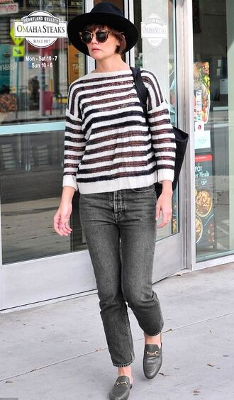 sweater stripes katie holmes streetstyle fall outfits fall sweater
