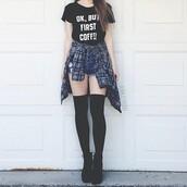 shoes,t-shirt,white t-shirt,black,black t-shirt,socks,shirt,nail accessories,nail polish,shorts,grunge shirt,blue,quote on it