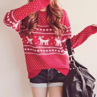 sweater red sweater patterned sweater deer sweater deer pattern shorts bag christmas jumper baggy comfy