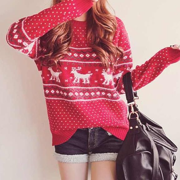 sweater shorts red sweater patterned sweater deer sweater deer pattern bag