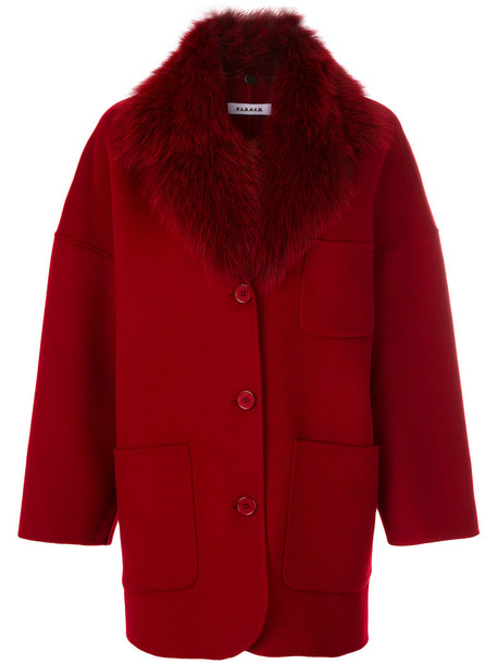 P.A.R.O.S.H. coat fur fox women wool red